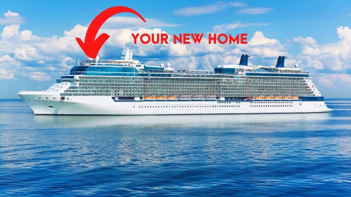 You too can live on a ship! Picture of a ship with an arrow pointing to the ship indicating this is your new home.