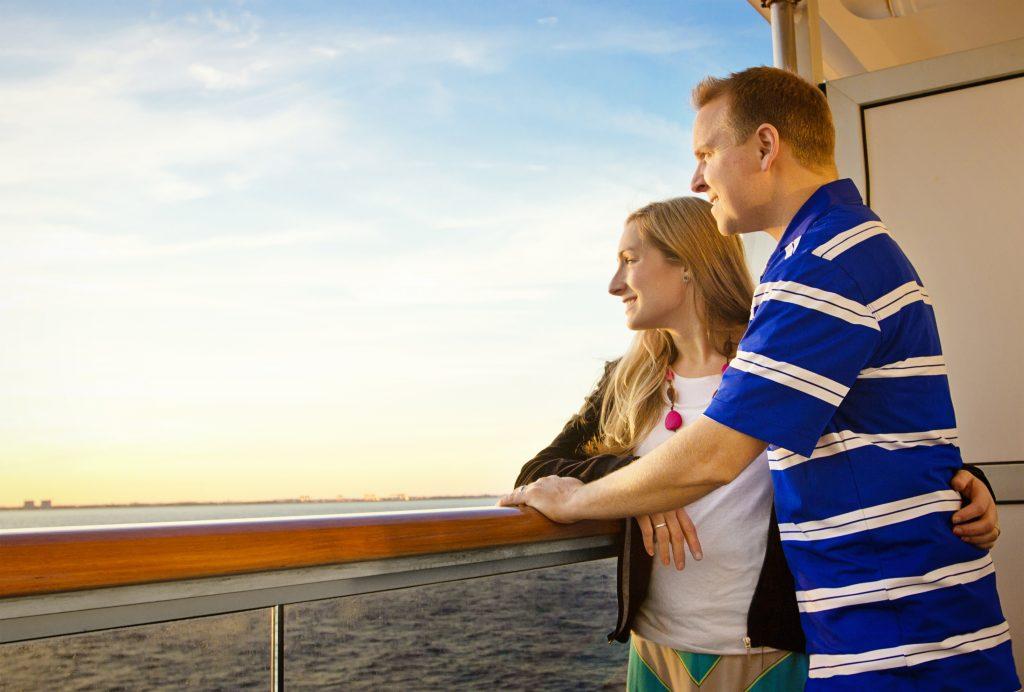 Couple on a cruise ship balcony